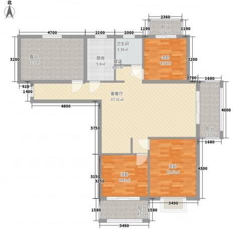 上河城3室1厅1卫1厨122.00㎡户型图