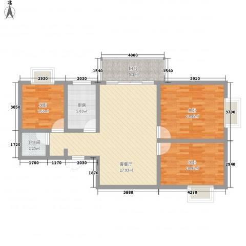百合花园二期3室1厅1卫1厨72.92㎡户型图