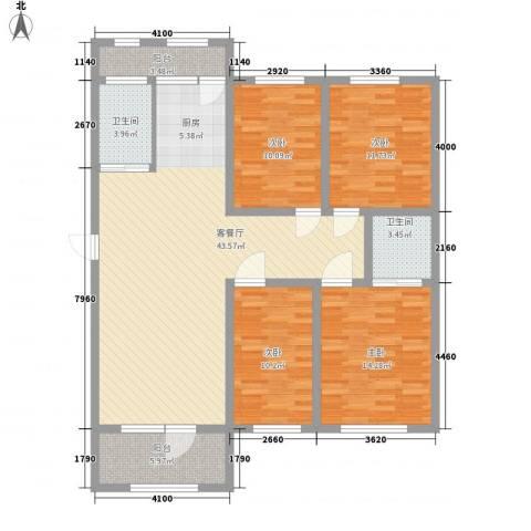 美地庄园4室1厅2卫0厨153.00㎡户型图