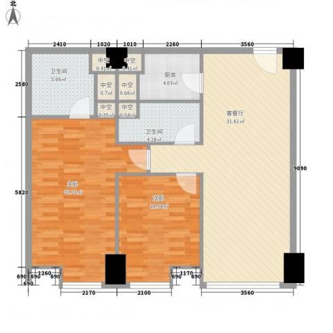 方恒国际中心2室1厅2卫1厨114.00㎡户型图