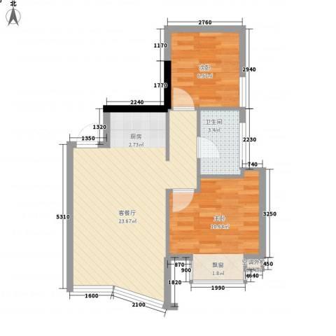 武夷天琴湾2室1厅1卫0厨63.00㎡户型图