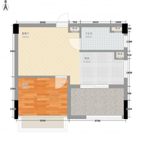 海悦云天1室1厅1卫0厨53.00㎡户型图