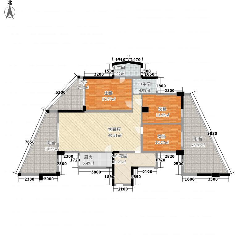 水岸华府146.51㎡1#楼01号房2户型3室2厅2卫1厨