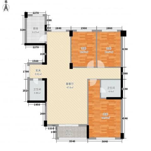武夷天琴湾3室1厅2卫1厨148.00㎡户型图