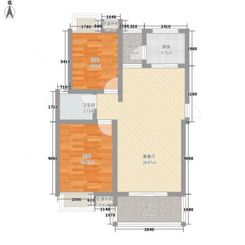 翰林城2室1厅1卫1厨71.30㎡户型图