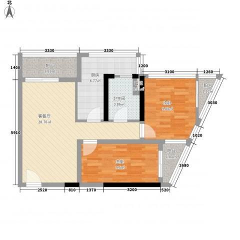月光蝴蝶花园2室1厅1卫1厨85.00㎡户型图