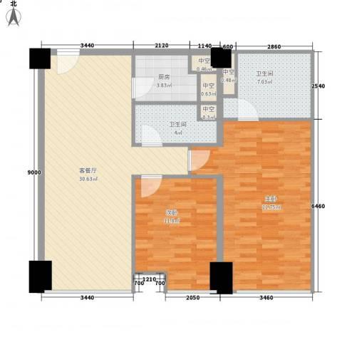 方恒国际中心2室1厅2卫1厨113.00㎡户型图