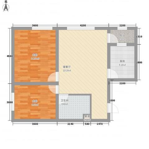 朗诗国际街区2室1厅1卫1厨85.00㎡户型图