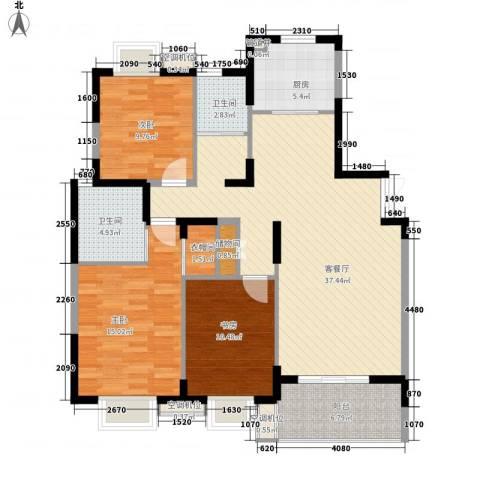 银城西堤国际3室1厅2卫1厨137.00㎡户型图