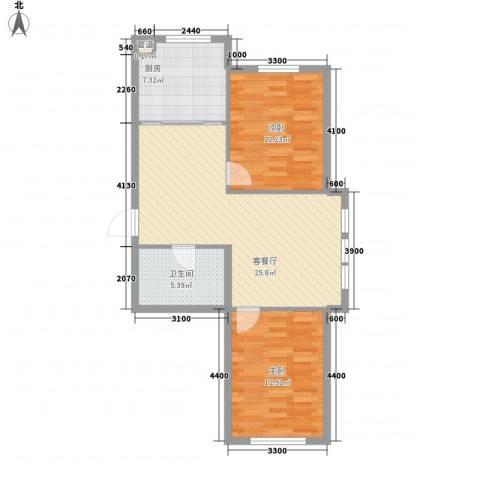 东方之珠龙翔苑2室1厅1卫1厨87.00㎡户型图