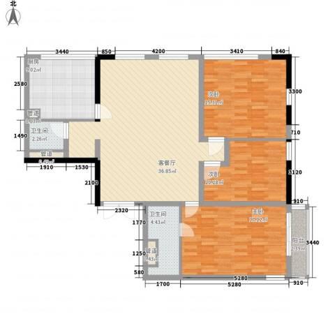 滨江19333室1厅2卫1厨140.00㎡户型图