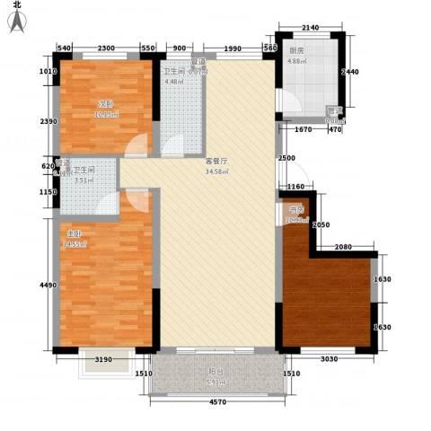 保利花园3室1厅2卫1厨89.25㎡户型图