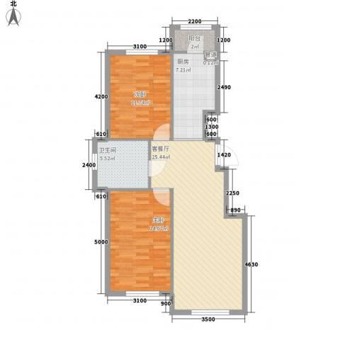 东方之珠龙翔苑2室1厅1卫1厨90.00㎡户型图