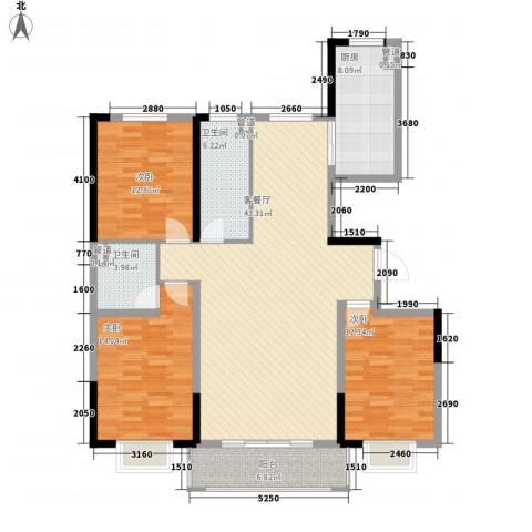 保利花园3室1厅2卫1厨138.00㎡户型图