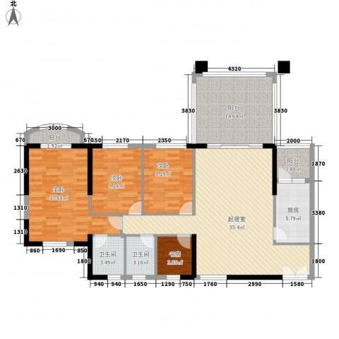 怡翠玫瑰园4室0厅2卫1厨151.00㎡户型图