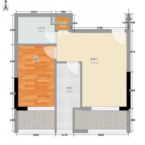 月光蝴蝶花园1室1厅1卫1厨67.00㎡户型图