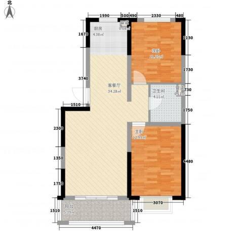 保利花园2室1厅1卫0厨85.00㎡户型图