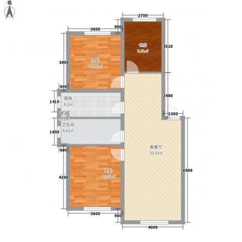 东方之珠龙翔苑3室1厅1卫1厨111.00㎡户型图