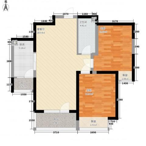 华业东方玫瑰2室1厅1卫1厨90.00㎡户型图