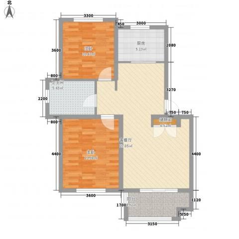 中环滨江花园2室1厅1卫1厨96.00㎡户型图