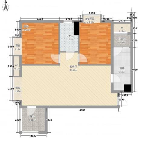 华业东方玫瑰2室1厅1卫1厨108.00㎡户型图
