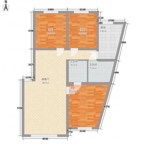 日月华庭二区3室1厅2卫1厨128.00㎡户型图