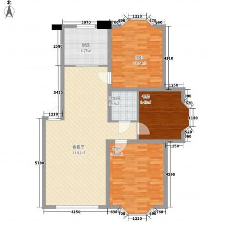 日月华庭二区3室1厅1卫1厨115.00㎡户型图