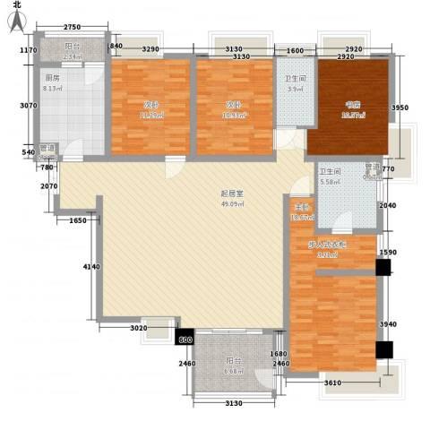 瑞虹新城三期4室0厅2卫1厨171.00㎡户型图