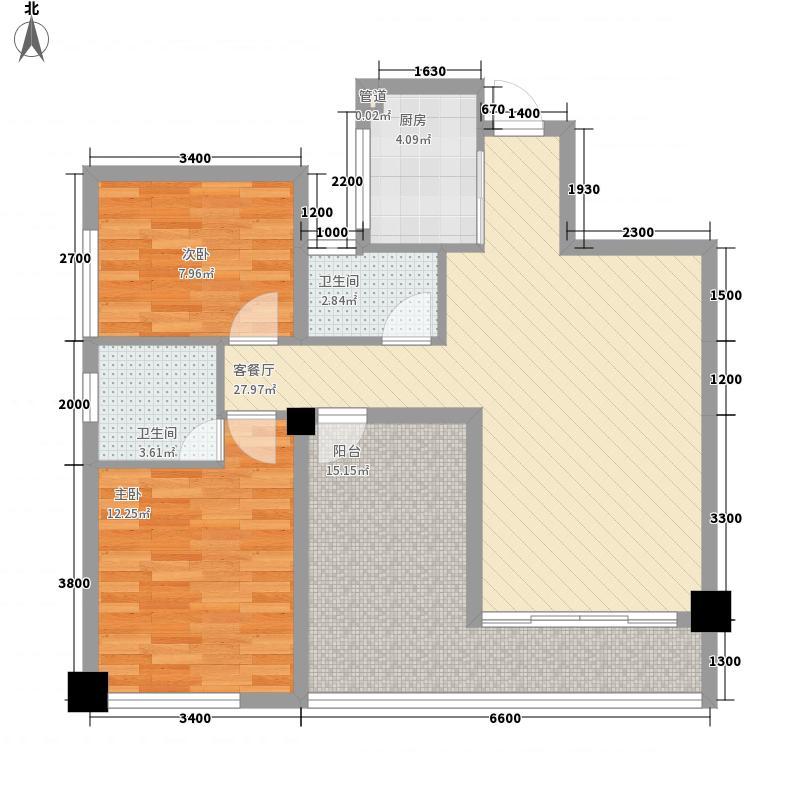 东郡88.68㎡C户型2室2厅2卫1厨