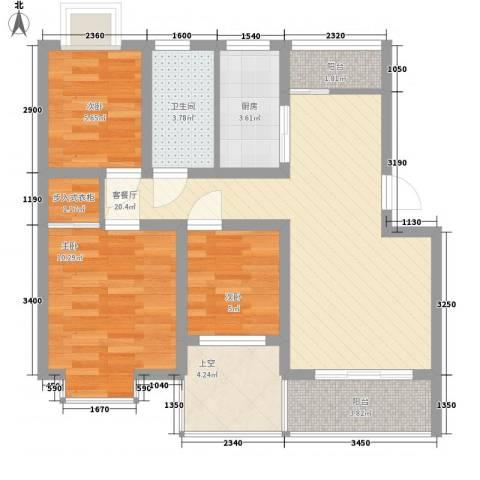 湖岸名家3室1厅1卫1厨89.00㎡户型图