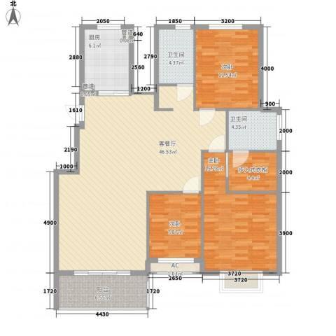 江南华庭3室1厅2卫1厨151.00㎡户型图