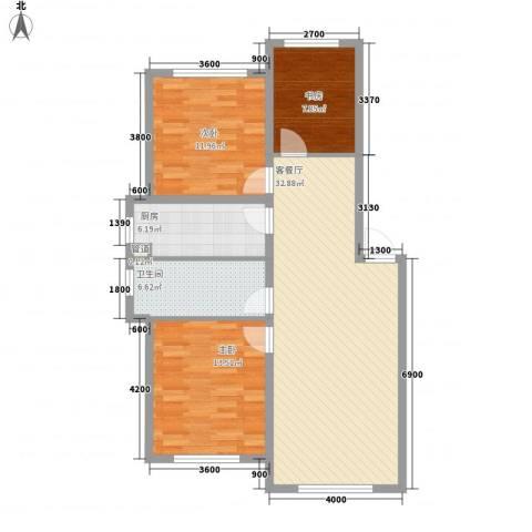 东方之珠龙翔苑3室1厅1卫1厨103.00㎡户型图