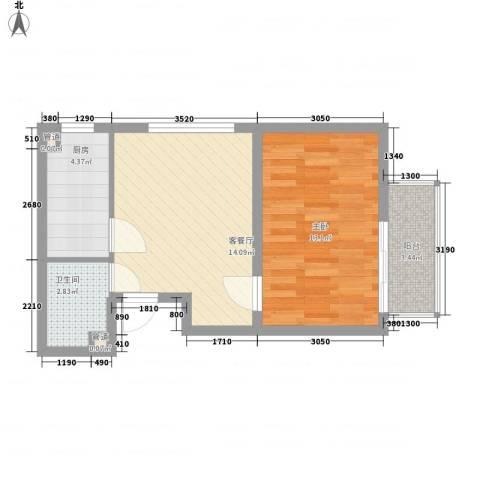 荣泰尚都1室1厅1卫1厨55.00㎡户型图