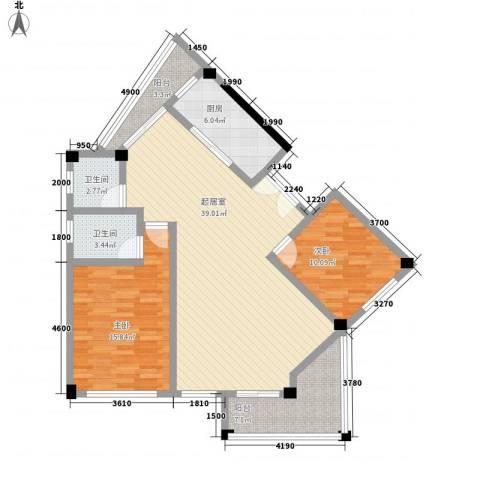 阳光府邸2室0厅2卫1厨87.59㎡户型图