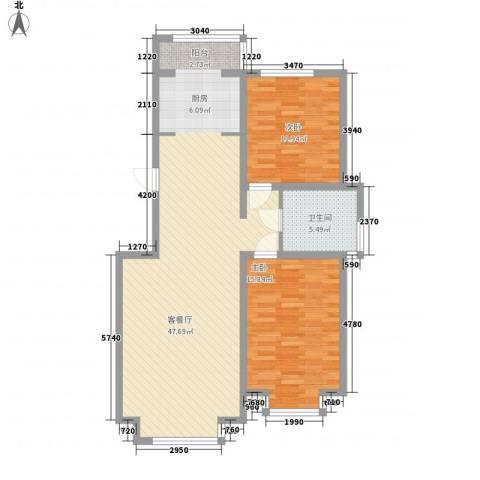 日月华庭二区2室1厅1卫0厨114.00㎡户型图