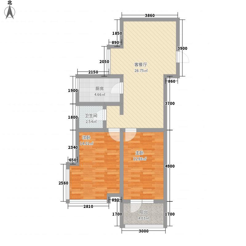 艺苑观天下83.00㎡1#楼、2#楼E1户型2室2厅1卫1厨