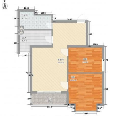 荣泰尚都2室1厅1卫1厨87.00㎡户型图