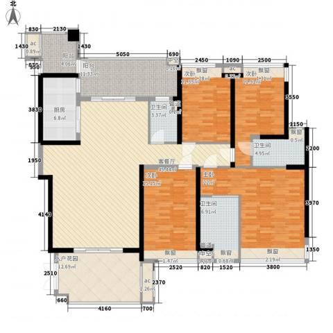 怡翠宏�4室1厅3卫1厨209.00㎡户型图