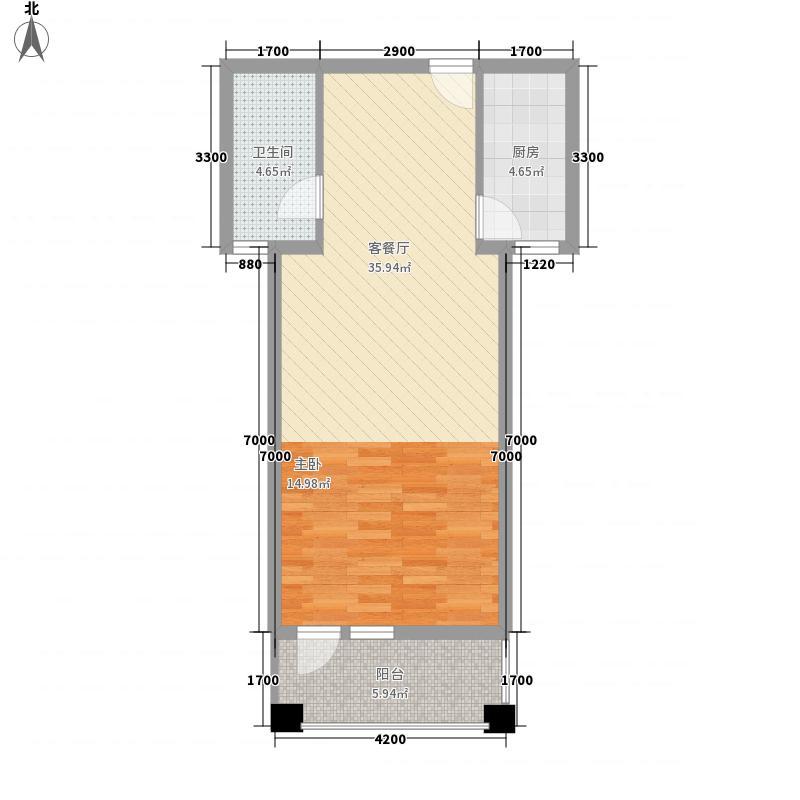 襄阳花园・福邸64.40㎡1#楼南向高层户型1室1厅1卫1厨