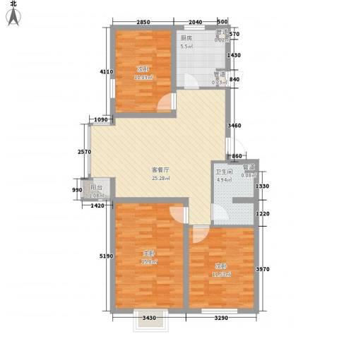 北美家园3室1厅1卫1厨74.66㎡户型图