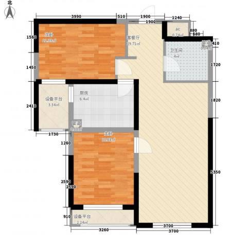 万晟爱琴海二期2室1厅1卫1厨89.00㎡户型图
