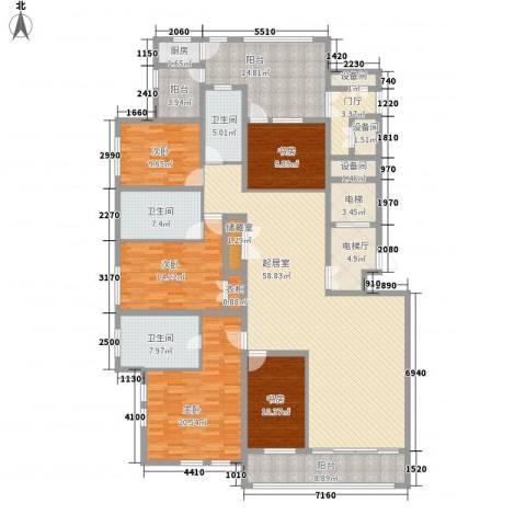 蓝庭国际5室0厅3卫1厨270.00㎡户型图