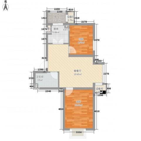 北美家园2室1厅1卫1厨73.00㎡户型图