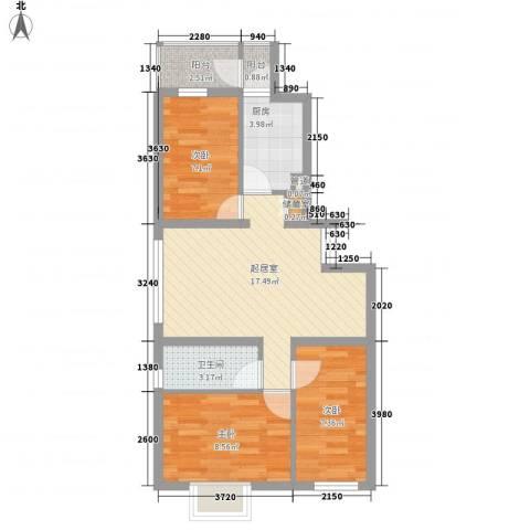 新大发国际广场3室0厅1卫1厨76.00㎡户型图