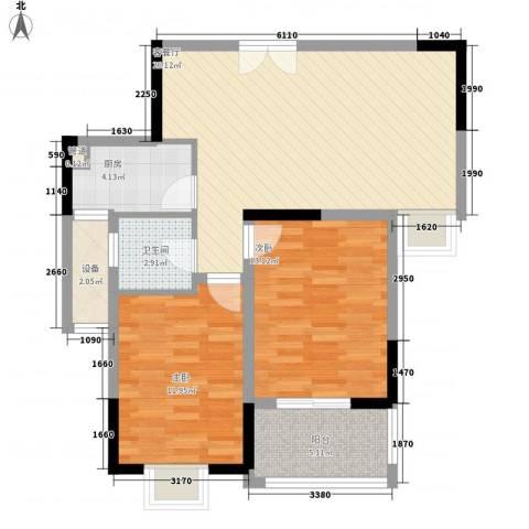 富贵园2室1厅1卫1厨94.00㎡户型图