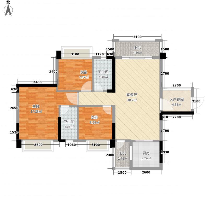 奥园广场115.31㎡D1户型3室2厅2卫1厨