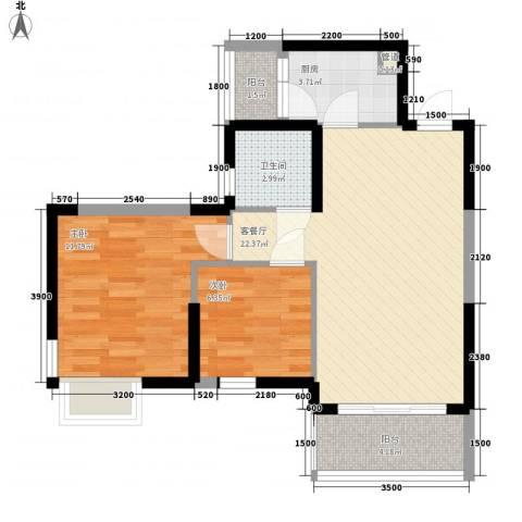 中惠沁林山庄二期2室1厅1卫1厨77.00㎡户型图