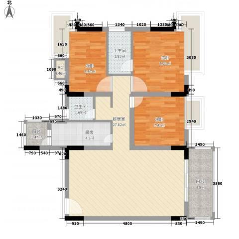 景泰花园3室0厅2卫1厨77.60㎡户型图