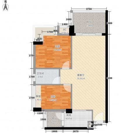 都市阳光2室1厅1卫1厨71.34㎡户型图