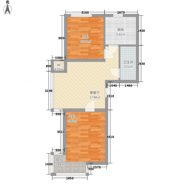 浑河湾72.46㎡浑河湾户型图X1X22室2厅1卫户型2室2厅1卫